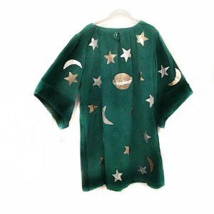 Wizard Costume Unisex L-XL Green with Moon Stars